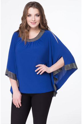 Блузка Дали 552 синий с серебром фото