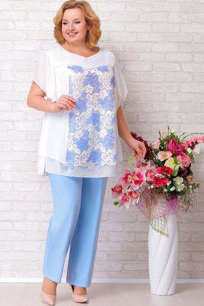 Комплект брючный Aira Style 541 голубой с молочным