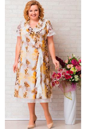 Платье Aira Style 667 желтый с молочным