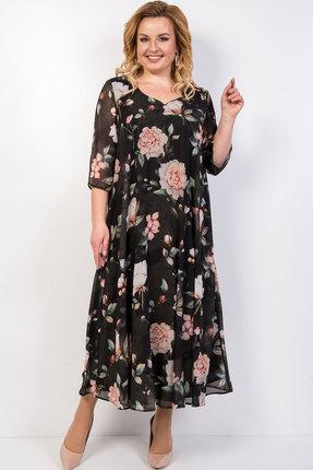 Платье TricoTex Style 03-19 темно-зеленый с розовым фото