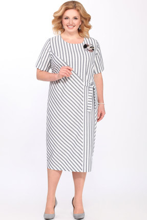 Платье Matini 31294 серый с белым