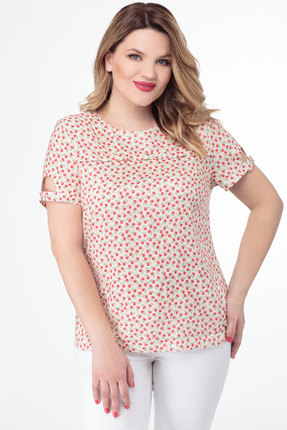Блузка Дали 4129 молочный с красным фото