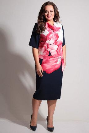 Платье Axxa 55075 синий с розовым