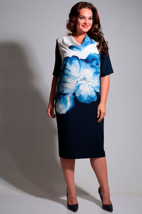 Платье Axxa 55075а синие тона