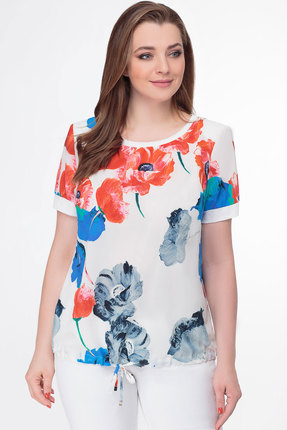 Блузка Дали 4230 белый с красным фото