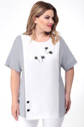 Блузка Дали 2458 белый с синим фото