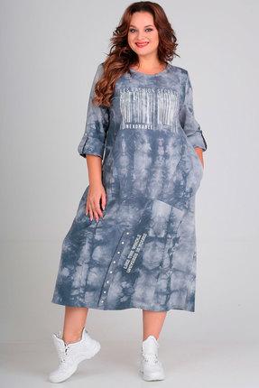 Платье Andrea Style 00198 голубые тона фото