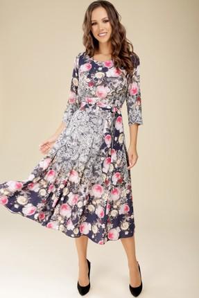 Платье Teffi style 1217 розовые цветы