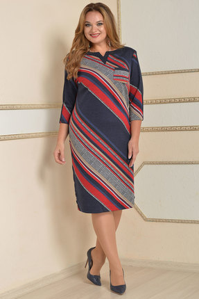 Платье Lady Style Classic 1123-2 синий с серым