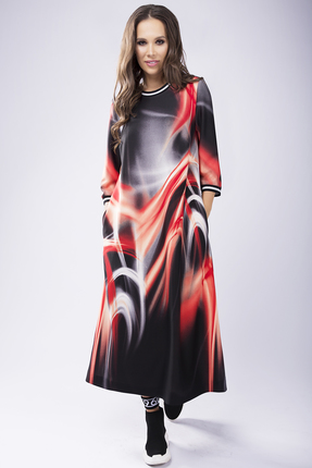Платье Teffi style 1432 красные тона фото