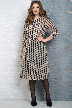 Платье Белтрикотаж 4186 бежевый с черным