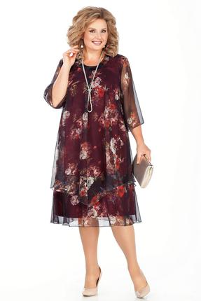 Платье Pretty 242-2 бордовые тона