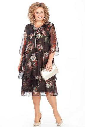 Платье Pretty 242-2 черный+цветы