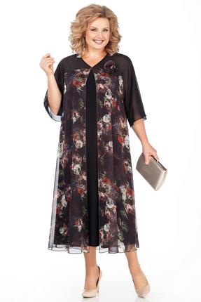 Платье Pretty 784 черный+цветы