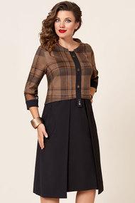 Платье Vittoria Queen 10113 коричневый с черным