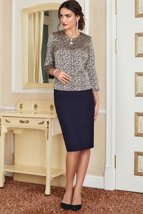 Комплект юбочный Lissana 3925 золотой с синим фото