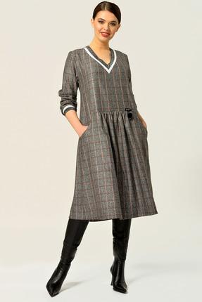Платье Anna Majewska А283G серый с коричневым