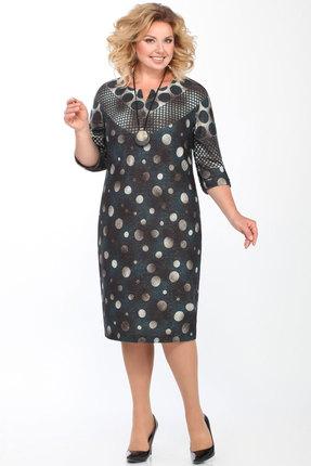Платье Matini 31163 зеленый с серым горох