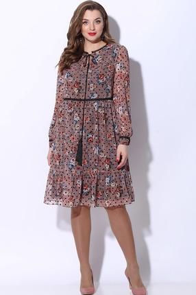 Платье LeNata 12072 розовый с горохом