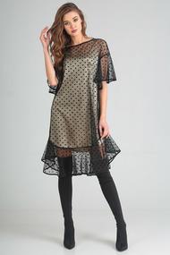 Платье Denissa Fashion 1202 черный с бежевым