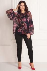 Блузка Solomeya Lux 597 черный в цветы