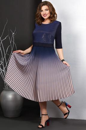 Платье Мублиз 391 синий с розовым фото