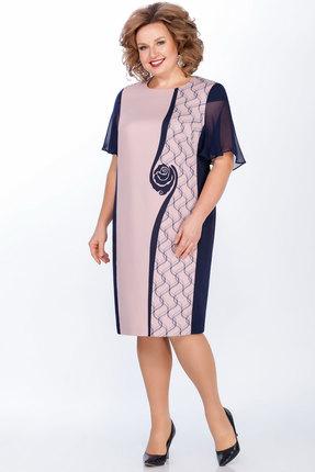 Платье LaKona 1268 синий с пудровым
