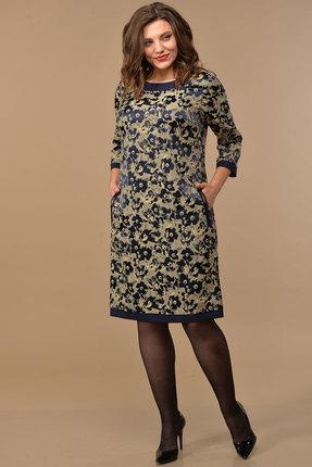 Платье Lady Style Classic 1427 синий с бежевым