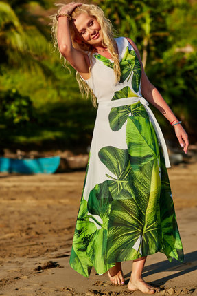 Платье Vesnaletto 2281 белый с зеленью