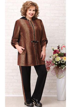 Комплект брючный Aira Style 719 черный с коричневым