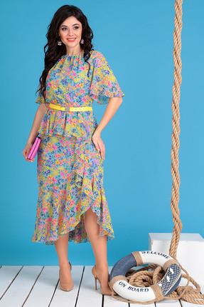 Платье Мода-Юрс 2480 голубой с розовым