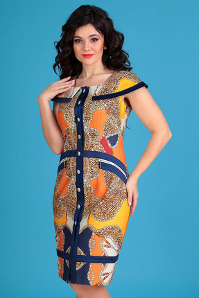 Платье Мода-Юрс 2129 оранжевые тона