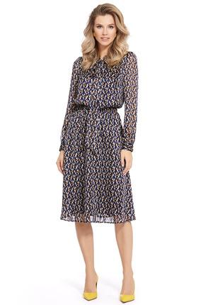 Платье PIRS 940 синий с бежевым