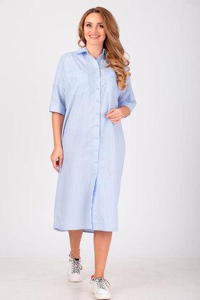 Платье Anelli 722 голубой широкая полоска