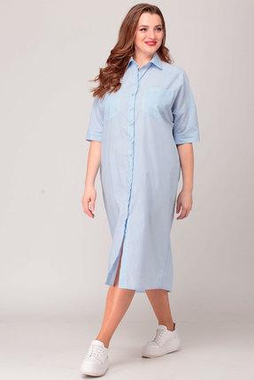 Платье Anelli 722 голубой узкая полоска