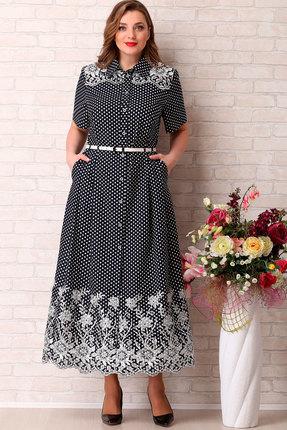 Платье Aira Style 736 темно-синий с белым