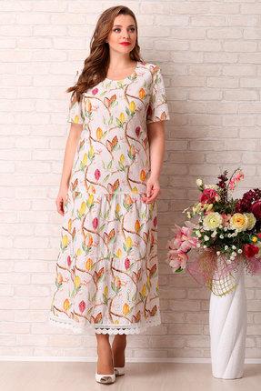 Платье Aira Style 743 молочный с цветным