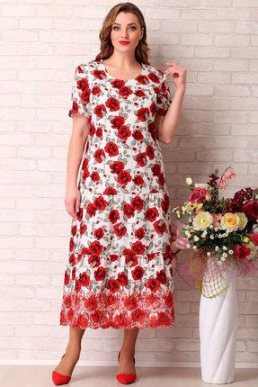 Платье Aira Style 742 красные тона с белым