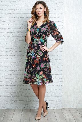Платье Alani 1101 черный с цветами фото