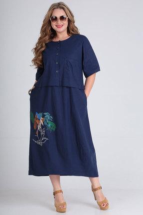 Платье Andrea Style 00254 синий фото