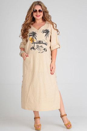 Платье Andrea Style 00253 бежевый фото