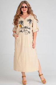 Платье Andrea Style 00253 бежевый