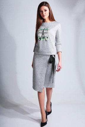 Комплект юбочный Axxa 26130а серый с зеленым фото