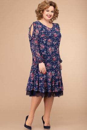 Платье Svetlana Style 1177 темно-синий с цветами фото