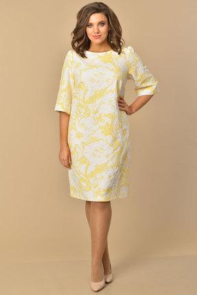 Платье Lady Style Classic 1030 желтый с белым фото