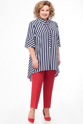 Комплект брючный KetisBel 2456 сине-белый с красным фото