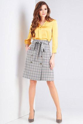 Комплект юбочный Милора-Стиль 738 желтый с серым фото