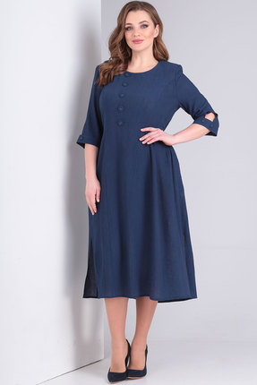 Платье Ришелье 787 тёмно-синий фото