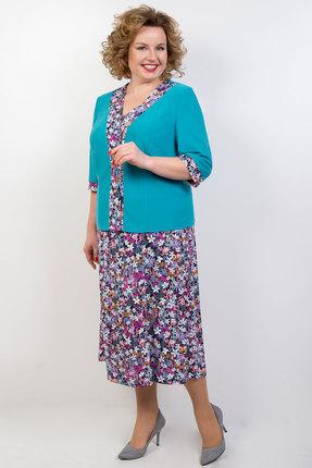 Комплект плательный TricoTex Style 04-18 бирюза в цветочек фото