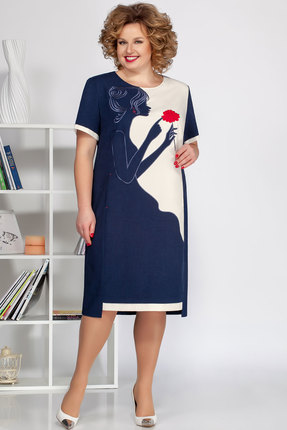 Платье Ivelta plus 1680 синий с молочным фото